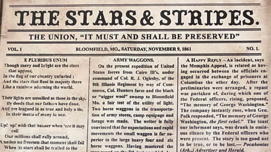 The first Stars and Stripes Newspaper from 1861