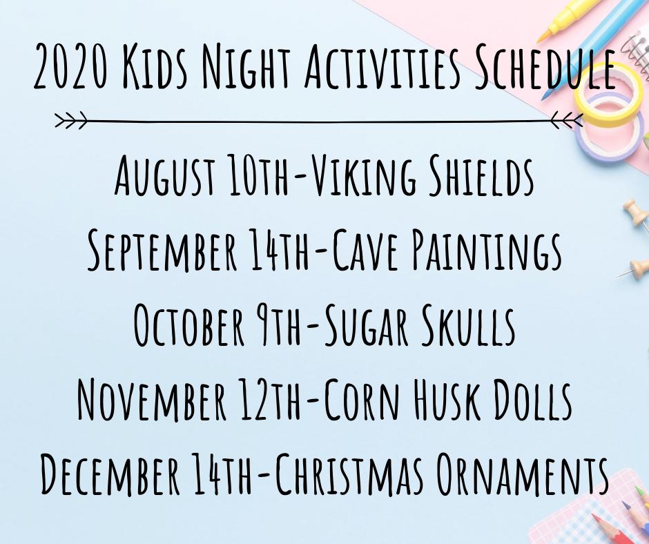 2020 Kids Night Activities Schedule